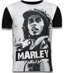 bob marley black and white - digital rhinestone t-shirt