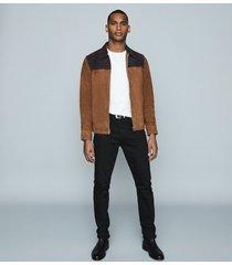 reiss redding - tone-tone suede jacket in tobacco & navy, mens, size xxl