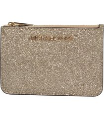 michael kors gold glitter leather jet set card case mini key pouch wallet nwt