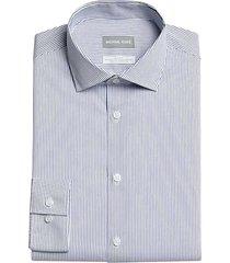 michael kors men's slim fit dress shirt navy stripe - size: 18 36/37