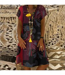 zanzea mujeres con cuello en v de la impresión floral larga camisa de algodón vestido étnico mini vestido plus -rojo