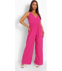 wide leg jumpsuit met bandjes, hot pink