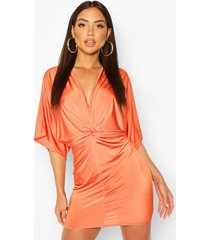 disco slinky twist front mini dress, orange