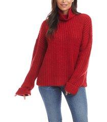 women's karen kane cowl neck sweater, size large - red