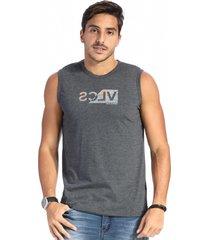 camiseta vlcs regata machã£o gola redonda cinza - cinza - masculino - algodã£o - dafiti
