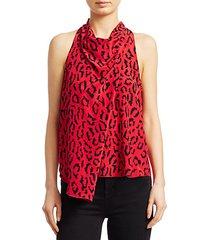 ella leopard sleeveless silk blouse