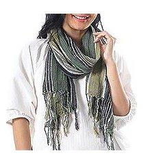 hand woven cotton scarf, 'bangkok stripe in green' (thailand)