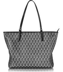 lancaster paris designer handbags, ikon printed coated canvas and leather tote