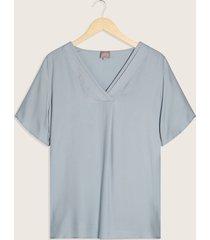 blusa manga corta escote v con pliegues-14