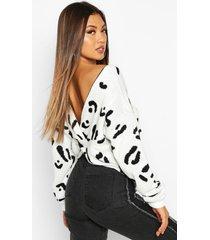 luipaardprint sweater met gedraaide achterkant, crème