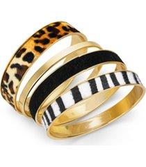inc gold-tone 4-pc. set faux pony hair bangle bracelets, created for macy's