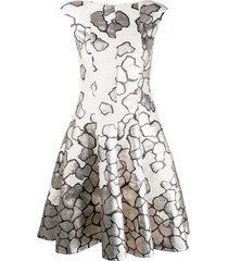 talbot runhof jacquard fit and flare dress - grey