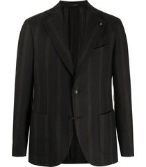 lardini vertical stripe knitted blazer - blue
