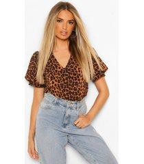 luipaardprint shirt met kraag, brown