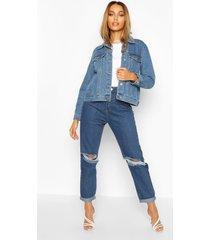 western jean jacket, mid blue