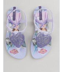 sandália infantil ipanema princesinha sofia com coração de glitter lilás