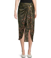 emma camo floral ruched midi skirt