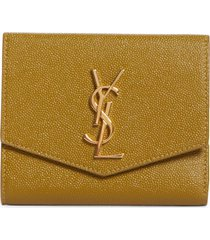 women's saint laurent uptown leather compact wallet - green
