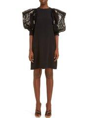 women's givenchy embellished lace sleeve crepe shift dress, size 4 us - black