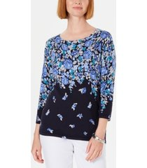 karen scott floral-print sweater, created for macy's