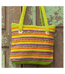 wool shoulder bag, 'fiesta in teotitlan' (mexico)