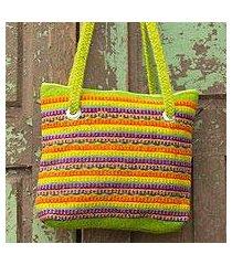 wool shoulder bag, 'fiesta in teotitlan' (mexico)