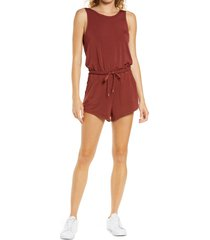 zella peaceful modal blend romper, size xx-small in rust madder at nordstrom