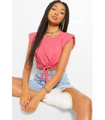 kort t-shirt met schoudervulling en striksluiting aan de voorkant, rose