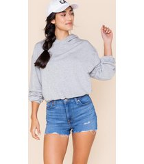 aria cropped hoodie - heather gray