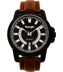 wrangler men's watch, 46mm ip black sandblasted case and bezel, black dial, white and beige index markers, dual crescent cutouts for date function, analog watch with beige second hand, brown strap