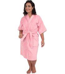 roupão de banho veludo adulto algodão rosa