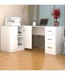 mesa para escritório office plus 2 portas 3 gavetas branco - appunto