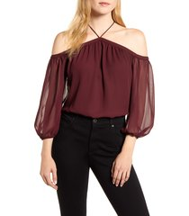 women's 1.state off the shoulder sheer chiffon blouse, size medium - red