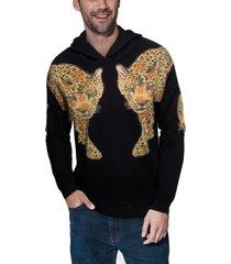 men's double tiger rhinestone hoodie
