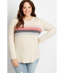 maurices plus size womens 24/7 pieced stripe cozy baseball tee beige