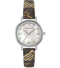 bcbgmaxazria women's classic stainless steel python-embossed leather-strap watch