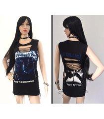 metallica - ride the lightning handmade dress custom corset shredded braided