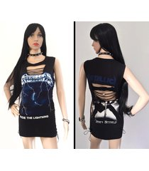 metallica - ride the lightning handmade dress custom corset shredded braided