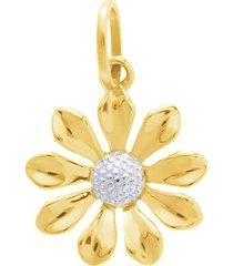 ciondolo fiore in oro bicolore per donna