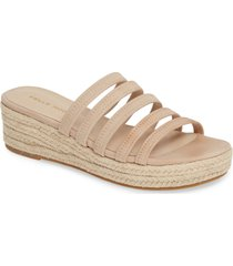 women's pelle moda selby strappy platform slide sandal, size 11 m - beige