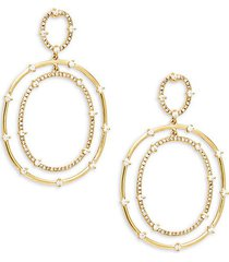 14k gold diamond double hoop drop earrings