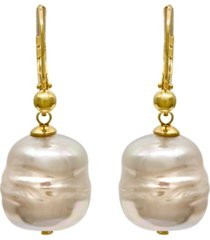 majorica 18k gold over sterling silver earrings, organic man-made baroque pearl drop