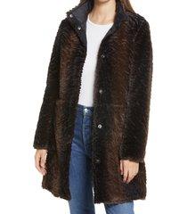 women's via spiga faux fur stand collar coat, size small - black