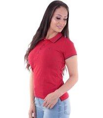 camisa polo slim meia malha com elastano traymon feminina