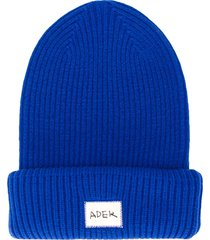 ader error ribbed logo beanie - blue