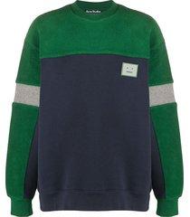 acne studios contrast panel fleece sweatshirt - blue