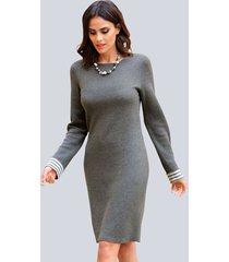 jurk alba moda grijs::offwhite