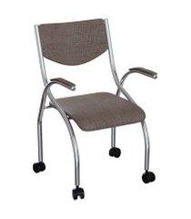 cadeira de escritório secretária colorado estofada cromada e marrom
