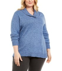 karen scott plus size marled cotton shawl-collar sweater, created for macy's