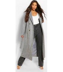 tall lange nepwollen jas met dubbele knopen, grijs